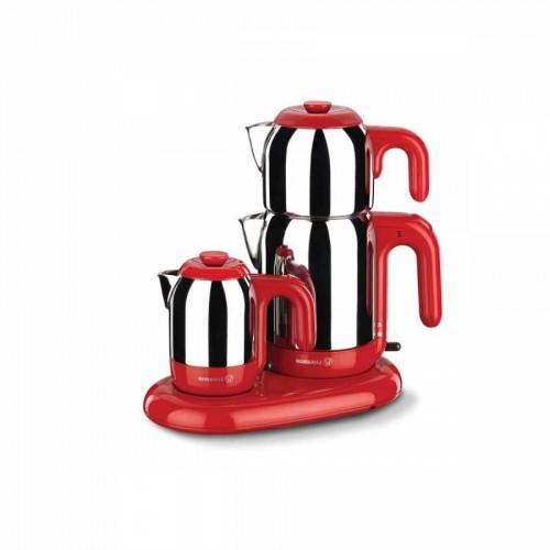 Korkmaz Mia Inox/Kırmızı Çay Kahve Makinesi